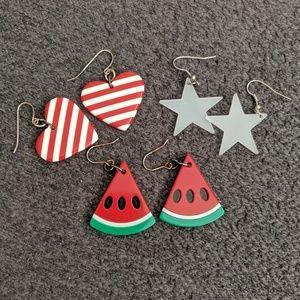🍀Lot of earrings watermelon star heart